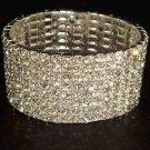 8 row Bridal  Clear Crystal Rhinestone Stretch Wristband Bangle Bracelet BR16