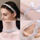 3 item Bridal Rhinestone applique rhinestone headband bracelet necklace HR278