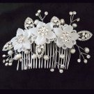Bridal dance Rhinestone Silk Flower Faux pearl Princess Prom Tiara comb RB655