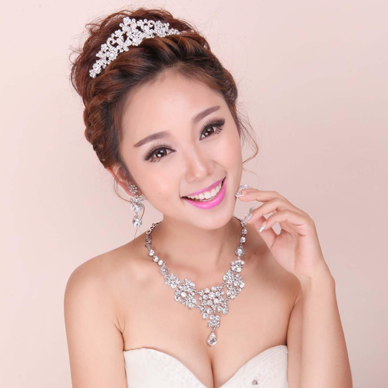 3 item Bridal Rhinestone clear crystal dangle earring necklace tiara set NR419