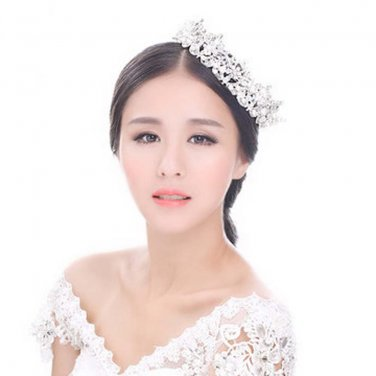 Huge Bridal Clear Rhinestone Silver tone Faux pearl  hair Headpiece crown HR360