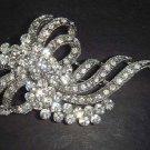 Bridal silver tone clear crystal Corsage Czech Rhinestone Brooch pin PI79
