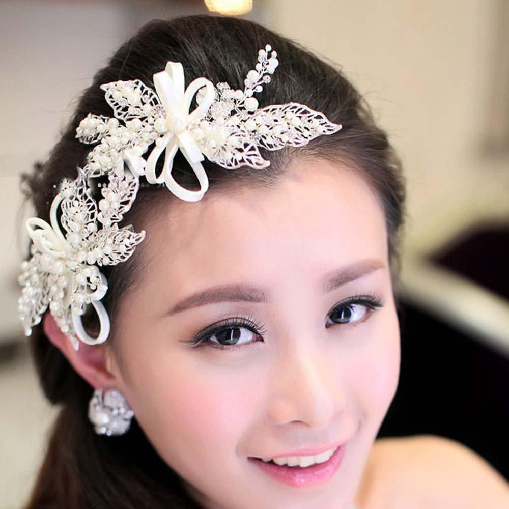 2 pcs Bridal faux pearl hair bow Prom dance rhinestone Headpiece clip HR355