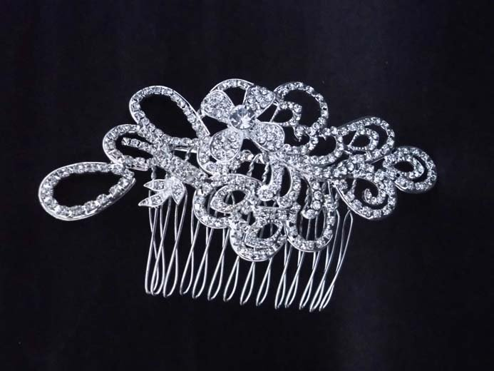 BRIDAL FLOWER HEADDRESS CLEAR RHINESTONE HAIR TIARA COMB RB637