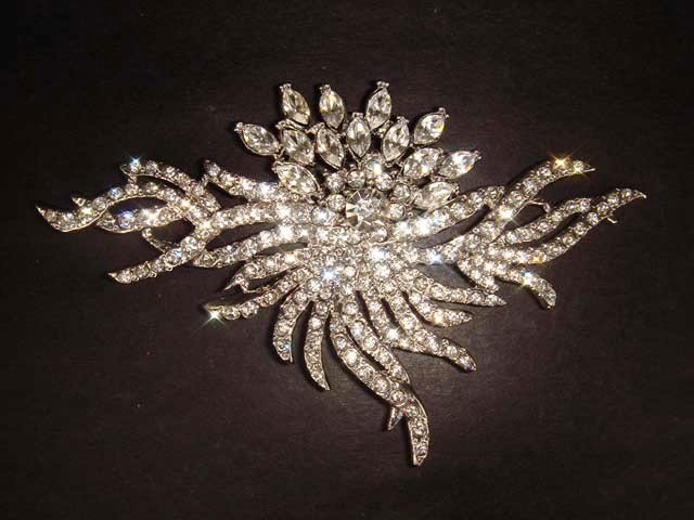 Huge Bridal Dress crystal Corsage Czech Clear Rhinestone Brooch pin PI243