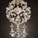 Bridal dangle Corsage Czech crystal dress Rhinestone Brooch pin Pi203