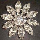 Bridal Dress crystal Corsage Czech Clear Rhinestone Brooch pin PI77