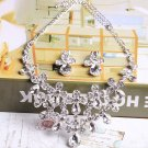 Bridal Clear Rhinestone crystal silver tone necklace earring set NR484
