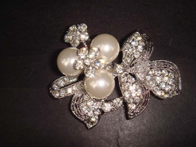 Bridal Faux pearl crystal cake scarf decorate Rhinestone Brooch pin Pi289