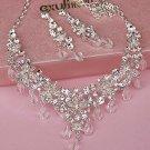 Bridal crystal silve tone clear Rhinestone elegant earring necklace set NR486