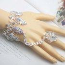 Bridal A B crystal silver tone slave Bracelet necklace earring set NR322