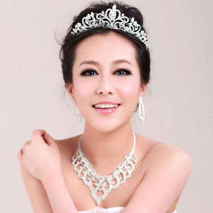Bridal elegant Rhinestone Crystal silver tone necklace earring set NR454