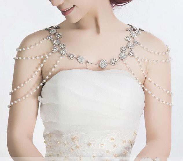 2 pcs Bridal faux pearl AB Rhinestone shoulder Bra Strap Halter necklace NR269