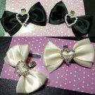 2 pcs Bow Bridal Prom blue black ivories Repair Heart Rhinestone Shoe Clip SA10
