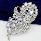 Elegant Huge Bridal Clear AB Crystal Silver tone Rhinestone Brooch pin PI609