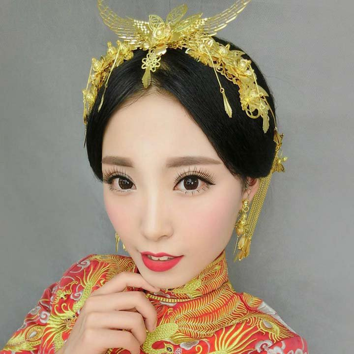 Bridal Chinese gold tone Phoenix Crown forehead band combs hairpin HR459