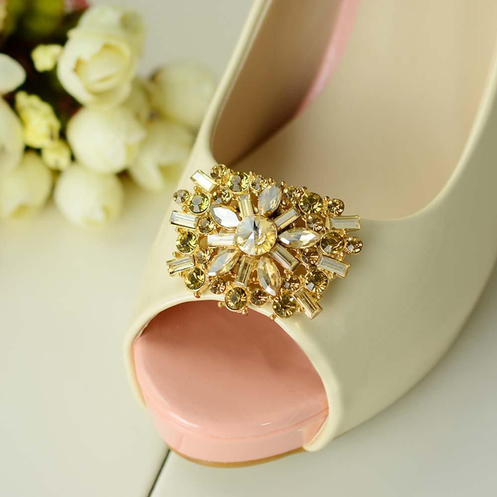 2 pcs a pair silver gold tone Bridal Prom Repair Rhinestone Shoe Charm Clips SA4