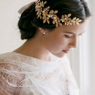 Bridal Rhinestone faux pearl gold tone leave forehead band hair Headpiece HR379