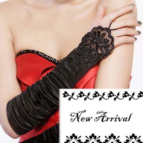 "14"" Bridal prom Black Lace Satin Fingerless Gloves S06"