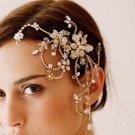 BRIDAL PROM ROSE GOLD TONE HEADDRESS CLEAR RHINESTONE HAIR TIARA COMB RB664