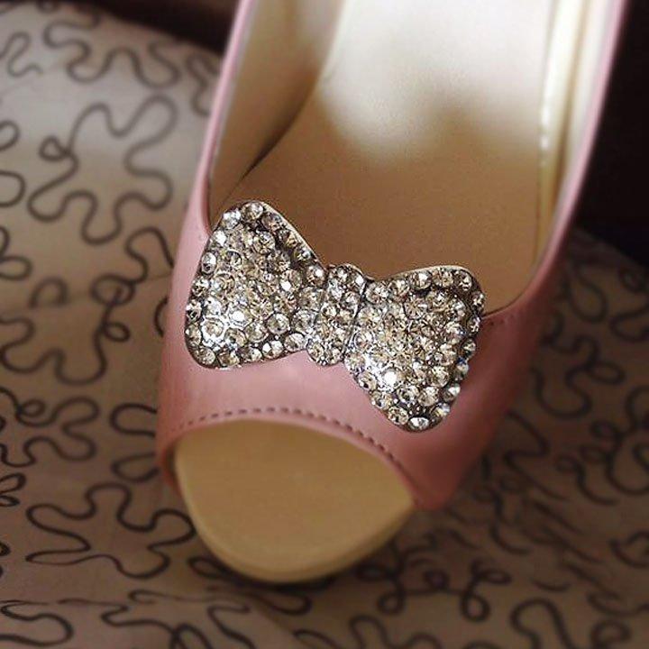 2 pcs Bow silver gold Faux pearl Repair Clear Rhinestone Shoe Charm Clip SA29