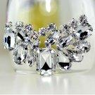 2 pcs a pair Bridal Prom silver tone Repair Clear Rhinestone Shoe Charm Clip SA6