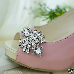 2 pcs silver pair Bridal vintage style Repair Rhinestone Shoe Charm Clips SA48