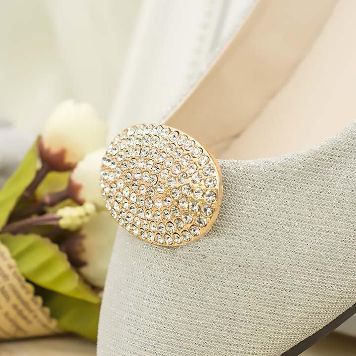 2 pc silver gold black pair Bridal Oval Repair Rhinestone Shoe Charm Clips SA54