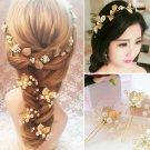 Bridal Gold leaf rhinestone Vine hair dance headpiece earring hairpin set HR463