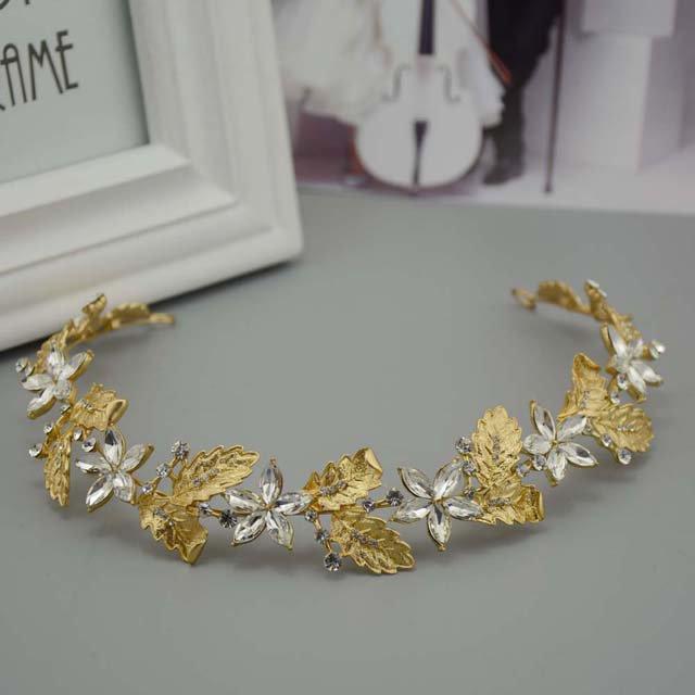 Bridal Rhinestone gold tone headpiece Adjust forehead band Tiara Vines HR383