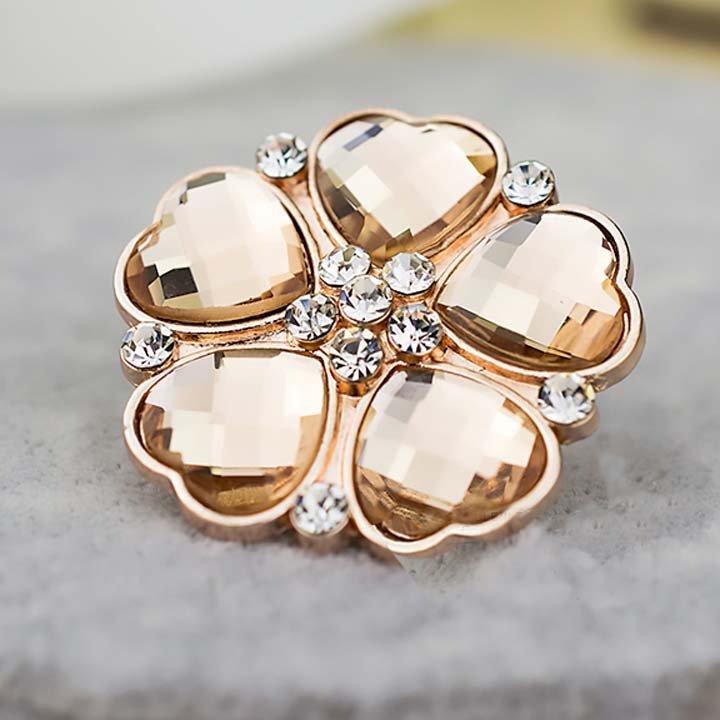 2 pcs pair Bridal Rose gold heart Flower Repair Rhinestone Shoe Charm clip SA50