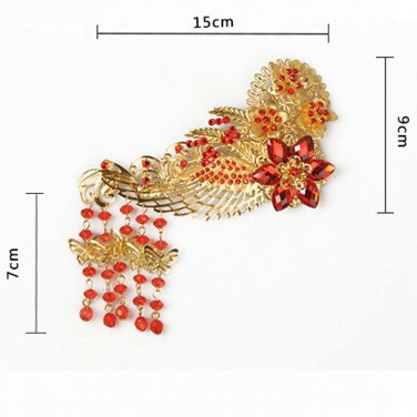 2 pcs Bridal traditional Chinese Red gold flower Phoenix crown Tiara Comb RB699