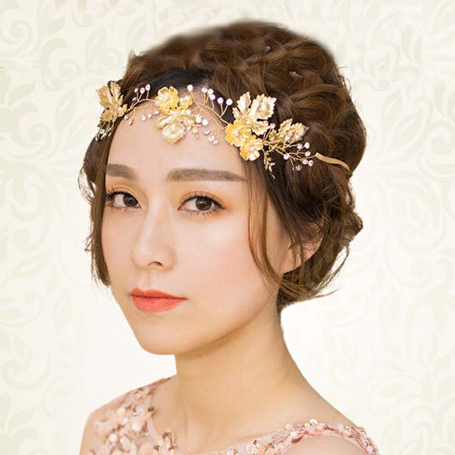 Bridal Rhinestone flower vine gold tone leave forehead band hair Headpiece HR387