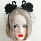 Masquerade Costume Party black veil two swans lace Queen Crown headband HR454