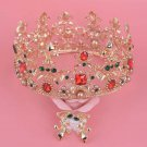 Bridal Gold tone colorful Crystal Baroque style queen head crown tiara HR423
