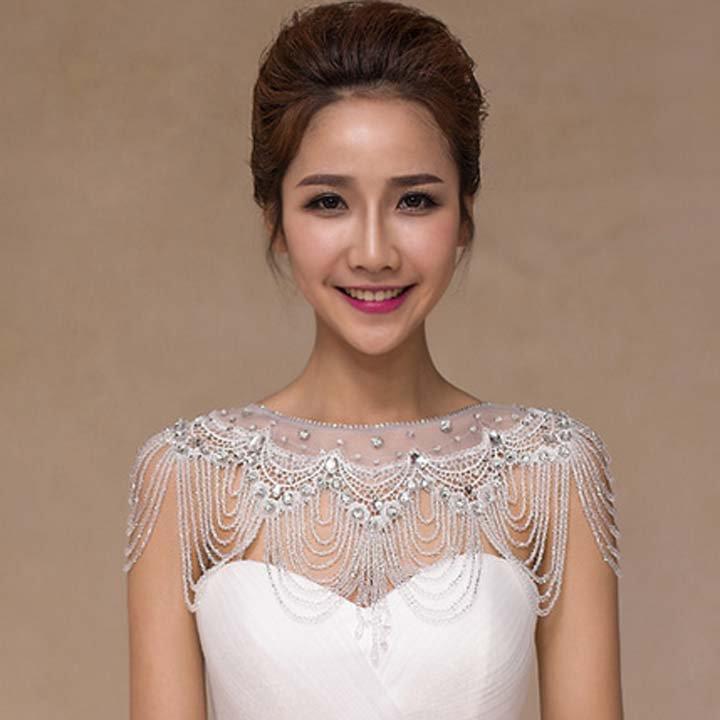 Bridal crystal collar Rhinestone shoulder deco bib Halter large necklace NR500