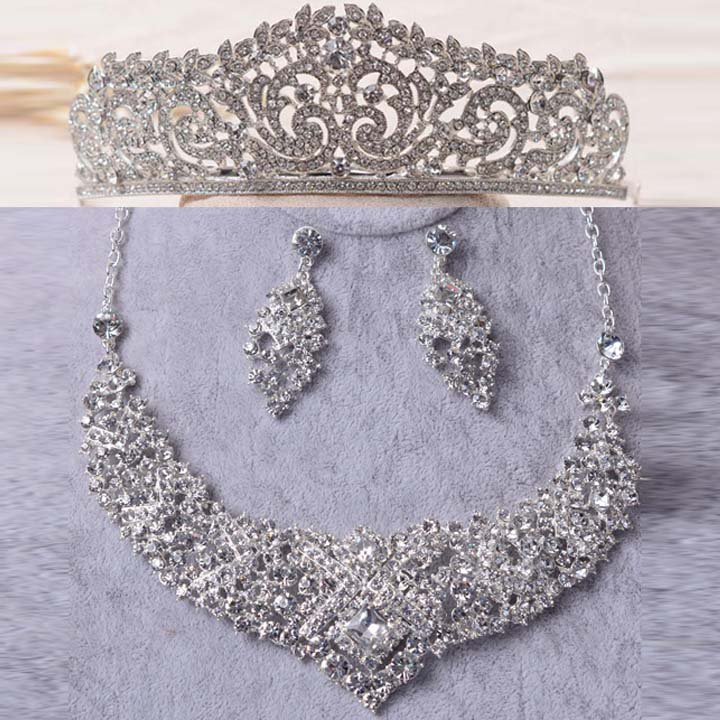 Bridal silver tone Rhinestone Crystal Hair tiara necklace earring set HR458A
