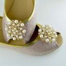 2 pcs a pair Faux pearl Bridal Prom Repair Rhinestone Shoe Charm Clips SA3