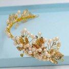 Bridal Chinese gold tone Faux pearl forehead band headpiece tiara HR455