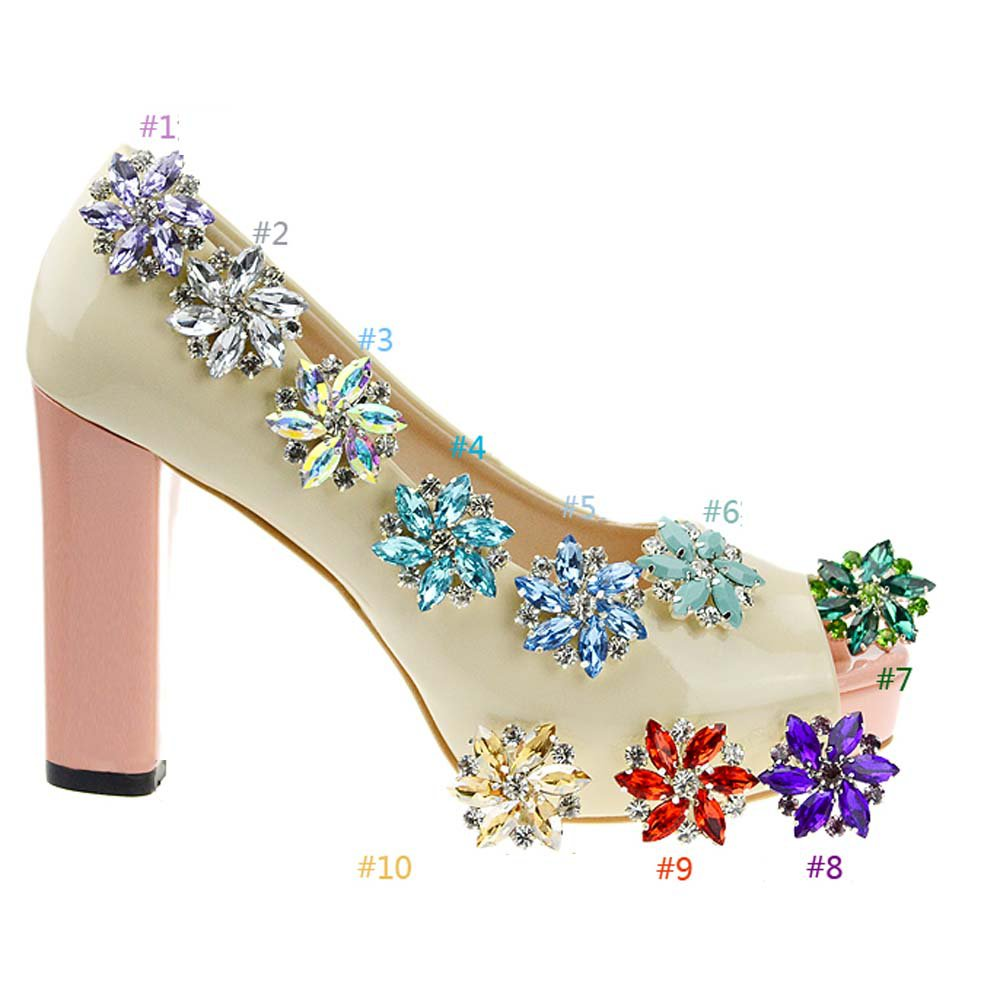 2 pcs a pair Colorful Bridal Prom Repair Acrylic Rhinestone Shoe Charm Clips SA2