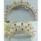 Bridal Red rhinestone Queen princess gold tone Hair tiara Crown Headpiece HR372