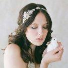 Bridal Clear Rhinestone silver tone Faux Pearl ribbon Head hair Headband HR401
