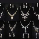 Bridal crystal silve tone clear Rhinestone elegant earring necklace set NR453