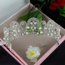 Bridal faux pearl Rhinestone clear rhinestone silver crown Hair tiara HR452