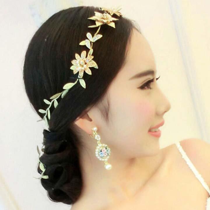 Bridal leave flower gold tone rhinestone party crown headpiece Hair tiara HR468