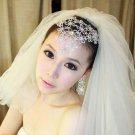 Bridal Rhinestone crystal Flower forehead band earring set Headpiece NR407