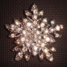 Bridal dress silve tone rhombus Corsage Czech Rhinestone Brooch pin PI385