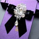 Bridal groom MC Rhinestone Shimmer Bow Tie Clip pin ribbon elastic band BA217