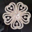 "2.6 "" large Bridal heart Corsage Czech Rhinestone brooch pin PI598"