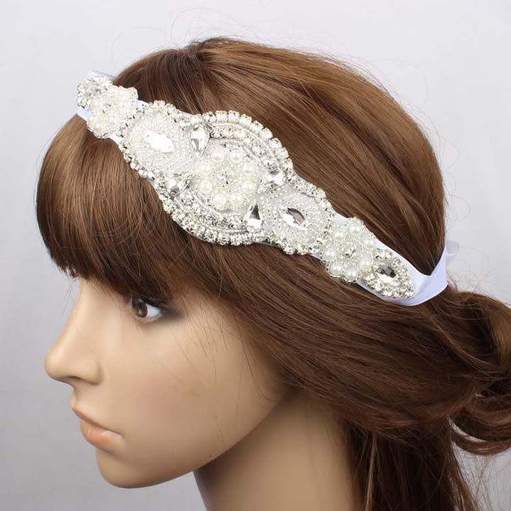 Bridal Clear Rhinestone flower girl prom white ribbon Head hair Headband HR451